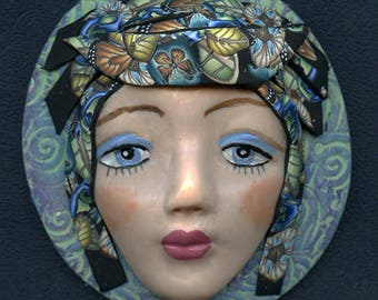 Lady Face Medallion Polymer Clay  3 Inch Large Detailed Face with Caned Hat  Medallion CFM 2