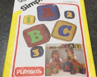 Simplicity 6261 Sewing Pattern Playskool Soft Blocks Numbers Letters Alphabet Numeral Homeschool Homeschooling Kindergarden Playschool Uncut