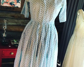 1950s cotton frock with blue flowers