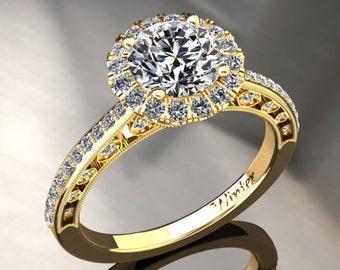 Forever One Moissanite Ring 1.00 Carat Moissanite And Diamond Halo Engagement Ring 14k or 18k Yellow Gold W5MOISY