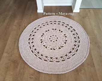 Pattern for Maya rug, T-shirt yarn crochet rug