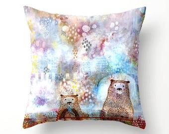 Otter Pillow, Otter Art Decor, Cute Otters, Alaskan Otter Decor, Ocean Otter Decor, Otter Throw Pillow, Unique Animal Decor, Animal Decor