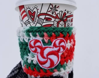 Disney Christmas Peppermint Mickey Crochet Coffee Cozy