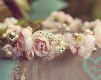 Vintage Blush Peachy Pinks Floral head wreath ANY size Vintage Rustic Charm -sweetly romantic headband for weddings,Events, studios
