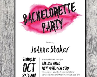 Bachelorette party invitation lipstick chic girls night fun DIGITAL FILE
