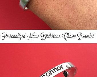 Name Bracelet, Personalized Bracelet, Cuff Bracelet, Mother's Day Gift For Her, Birthstone Bracelet, Charm Bracelet, Baby Shower Gift, Mom