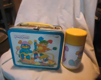 Vintage 1986 Popples Metal Lunch Box With Thermos, Lunchkit, collectable