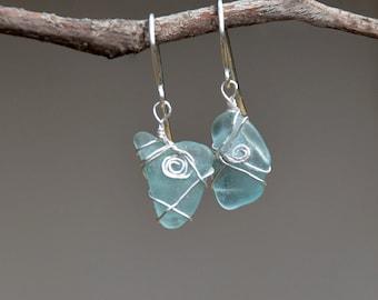 Genuine Sea Glass Earrings Silver Earrings Sea Glass Jewelry Silver Jewelry Light Beach Glass Earring Sea Glass from Israel Free Shipping