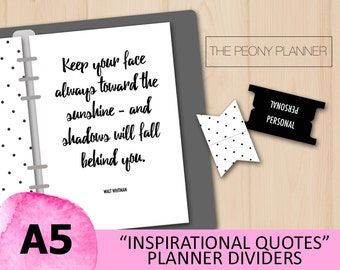 Planner Dividers, Tabs, Dashboards INSPIRATIONAL QUOTES   A5 Size   Filofax, Kikki K Planners   Black, White, Calligraphy, Accessories