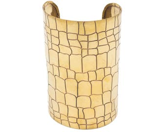 Brass Cuff Bracelet Faux Reptilian Print