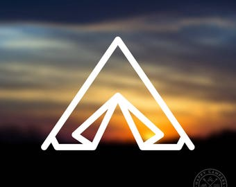 Camp Tent Icon Vinyl Decal | Water Bottle Decal | Car Window Decal | Laptop Decal