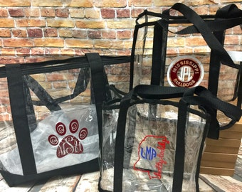 Monogrammed Clear Stadium Totes - SEC   College   NFL  Game Day Tote  Football Game   Clear Tote   Clear Purse