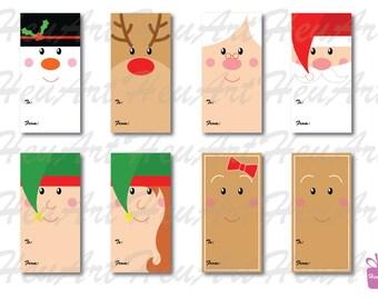 NEW Cute Faces Gift Tag Set - Cute Christmas Gift Tag, Cute Holiday Gift Tag, Cute Christmas Printables, Cute Christmas DIY, Tag, Gifts