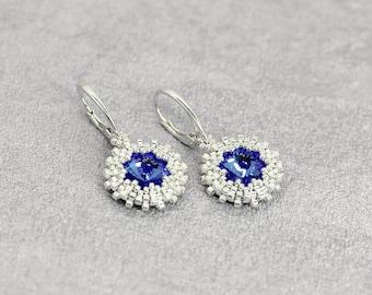 Blue earrings Sterling silver earrings Dangle earrings Drop earrings for sensitive ears Wedding jewelry for bride gift for Bridesmaid gift