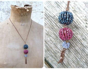3 pompoms necklace / 3 pompoms tassels beaded necklace /metallic blue & metallic fushia