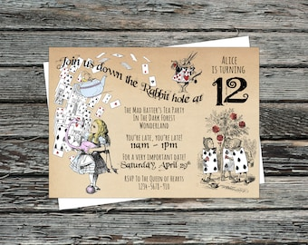 Personalised Alice in Wonderland Invites, Down the Rabbit Hole Invitations, Drink me Eat me, Follow the White Rabbit, Mad hatter's tea party