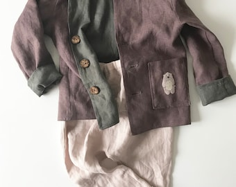 Boy's pants, boy's jacket, Linen , Safari , Washed Linen, Hand Embroidery, Organic Kids Clothing, Little_Alice_linen