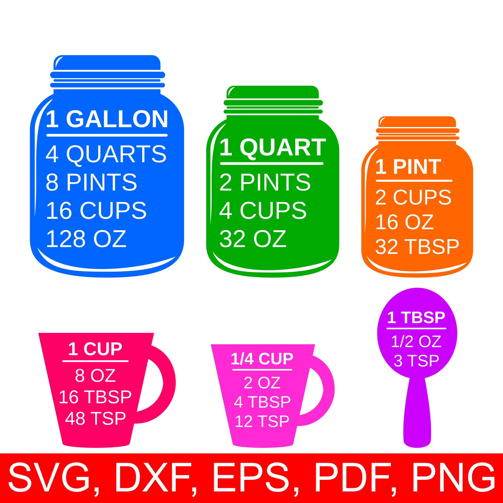 Colorful measuring cups svg and printable kitchen conversion zoom geenschuldenfo Choice Image