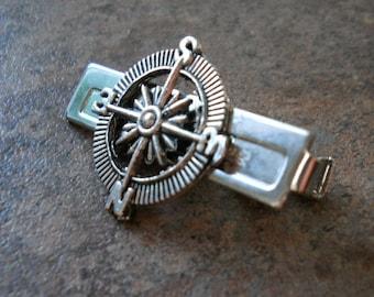 Steampunk Adventurer Compass Men's Tie Bar Clip in Antique Silver By Enchanted Lockets
