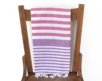 Turkish Fouta Towel Turkish Beach Towel Turkish Bath Towel Sarong Pareo Throw Cotton Beach Blanket ROSE Pink PURPLE PESHTEMAL