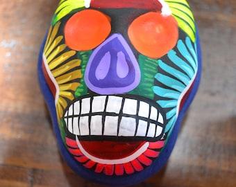 Day of the dead jewelry box/ momma jewelry box/ guerrero pottery jewelry box/ mexican jewelry box/ bright color skull box/ sugar skull