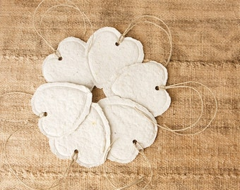 READY TO SHIP Handmade Paper Heart Gift Tags, White Sage, Set of 6