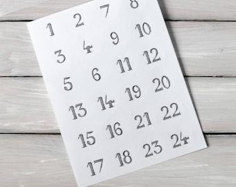 24 Advent Calendar Numbers
