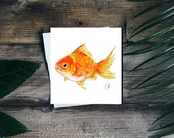 Goldfish card // fish card // goldfish birthday card // goldfish greetings card // fish greetings card // fish art // goldfish art