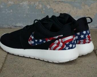 New Nike Roshe Run Custom Red White Blue American Flag Edition Mens Shoes  Sizes 8 -