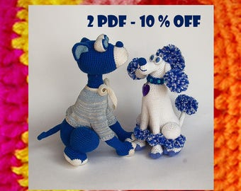 Amigurumis Pattern. Crochet Dog and Poodle. New Year crochet souvenir. Christmas gift. DIY. Amigurumi dog pattern. Discount set 10% OFF
