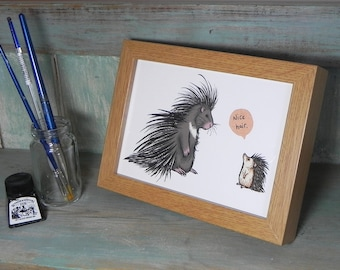 "Porcupine & Hedgehog - 'Nice Hair' Illustration Framed Mini Print - 6"" x 8"" Oak finish frame"