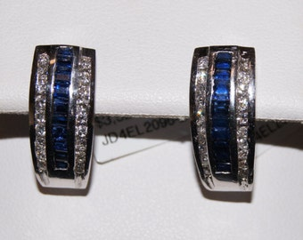 14 k white gold channel set diamond and baguette cut blue sapphire clip on earring