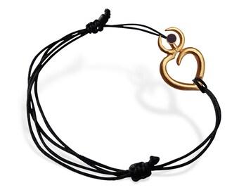 Elegant Love String Bracelet, Gold Heart Bracelet, Silver  BFF Handcrafted Bracelet, Special Gift for Her, Women's Minimal Bracelet, Porpe