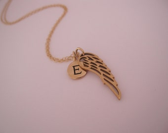 Gold Angel wing with initial, Personalized Wing Necklace, Remembrance jewelry, Dainty necklace, Initialed angel wing, memory necklace