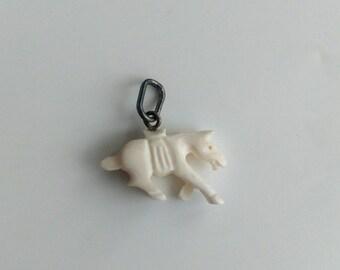 Vintage carved bone horse pendant silver
