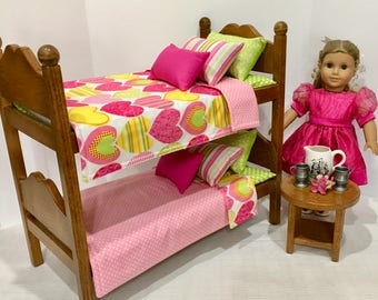 American Girl doll bunk beds with pink lime green hearts bedding