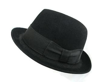 Disney Black Fedora, Mens Fedora, Disney New York, Black Felt, Grosgrain Ribbon, Bowler Hat, Vintage Hat, Vintage Fedora