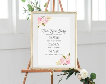 Printable Our Love Story Sign Our Love Story Printable Love Story Sign Important Dates Sign Personalized Wedding Love Story Sign #CL110