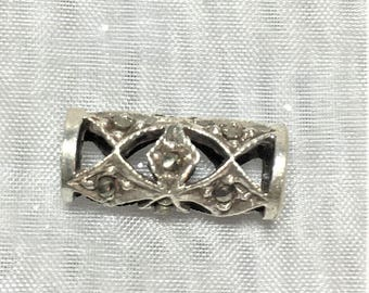 Marcasite Antiqued Sterling Silver Open Weave Tube 16m #675