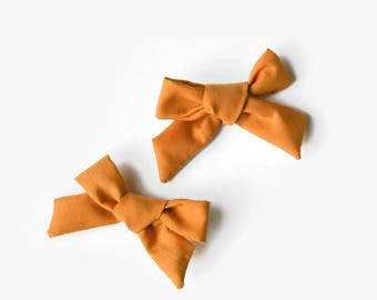 Pig Tail Bows - Pigtail Hair Bows - Bows for Pigtails - Mustard Hair Bows - Set of Two Bows - Mustard Bow Set