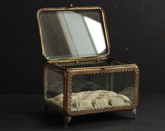French Antique Napoleon III Large Jewellery Box/Glass Display Box/Marriage Box/ With Beveled Glass Gilded Metal Mounts Ivory Silk Cushion