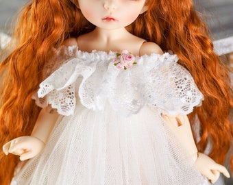 White lace dress for tiny 1/6 BJD clothes Littlefee yosd