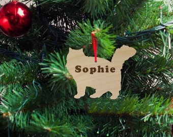 Cat Fluffy Silhouette Wood Ornament, Christmas Gift, Holiday Gift, Custom Engraved, Cat Pet Ornament