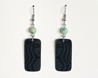 Upcycled Gift Card Earrings - Black & Mint Starbucks