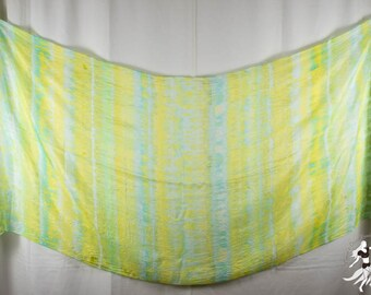 Silk Belly Dance Veil Light Blue Bright Green and Yellow Stripes OOAK 84x35 DDB1515