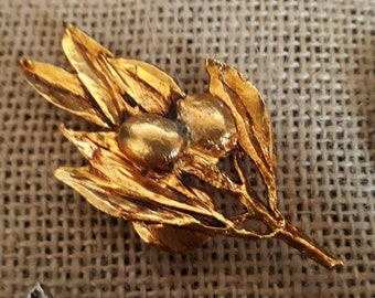 Olive gold plated branch brooch