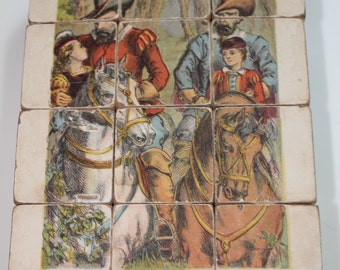 Vintage Wooden Block Victorian Scenes Parlour toy Puzzle 6 different Images