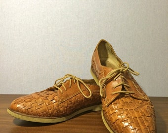 Vintage Woven Leather Oxford Shoes