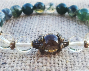 Abundance prosperity Smoky Quartz Citrine Moss Agate Wealth Bracelet Yoga Healing Meditating Gemstone Bracelet
