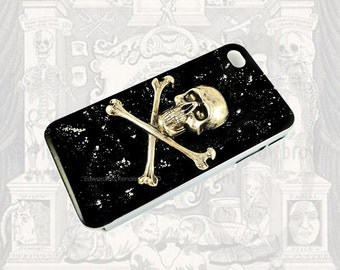 Skull and Crossbones Iphone Case Antique Silver Inlaid in Hand Painted Black Enamel with Silver Splash Metal Phone Case Custom Colors Option